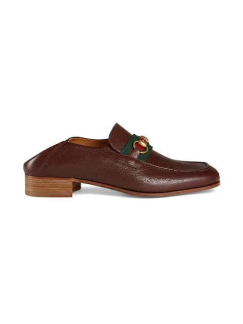 Gucci Loafers 9Y9W0  Canvas Horsebit-Detail Beige-Combo In Brown