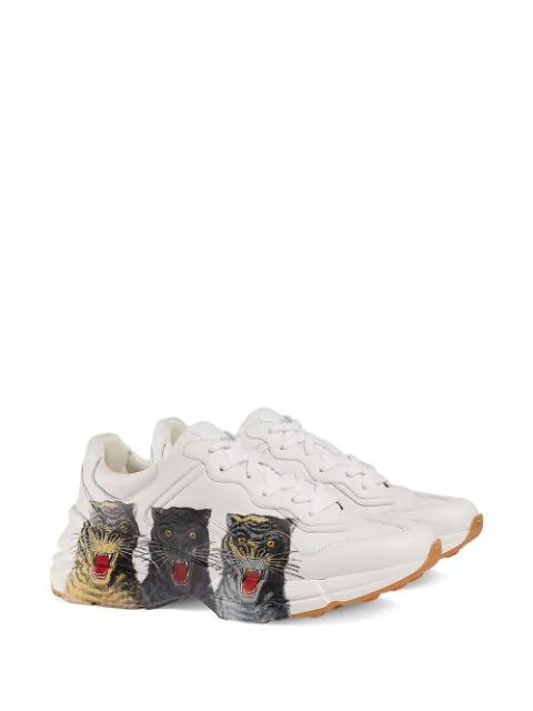 Gucci Men's Rhyton Tiger-Print Leather Dad Sneakers In 9014 Great White