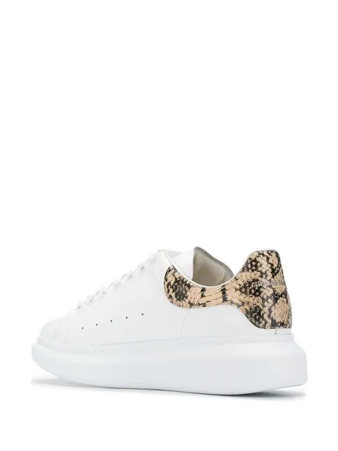 Alexander Mcqueen 'Oversized Sneaker' In Leather With Python Embossed Collar In White