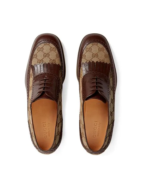 Gucci Brown Leather And Gg Fringe Shoes