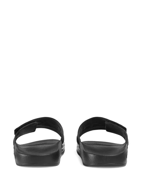 Gucci New Pursuit Leather Slide Sandals In Black