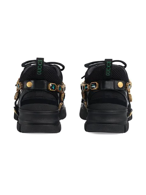 Gucci Flashtrek Embellished Logo-Embossed Mesh, Suede And Leather Sneakers In Black
