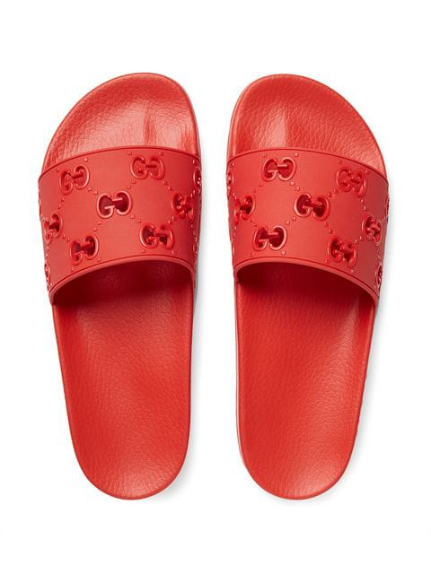 Gucci Pursuit Gg Cutout Rubber Sliders In Red