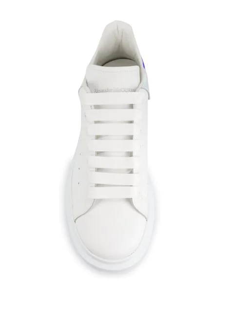 Alexander Mcqueen 'Oversized Sneaker' In Leather With Holographic Collar In 9375 White Mirror