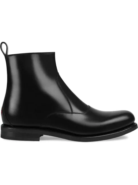 Gucci Leather Boot In 1000 Black