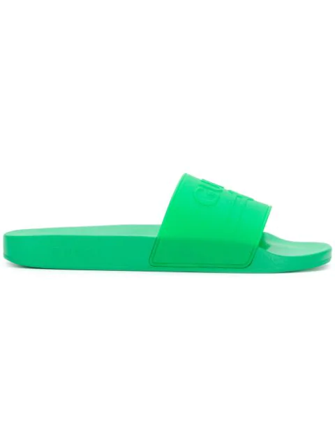 cc3afc45 Logo-Embossed Rubber Slides - Bright Green in 3023 Green