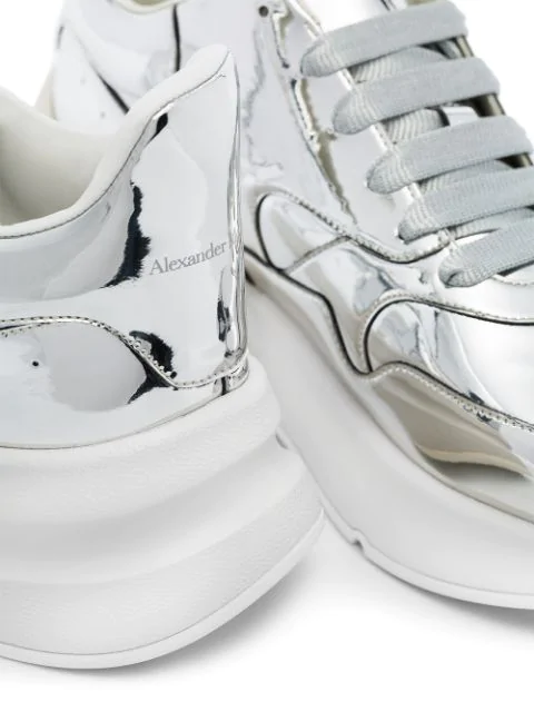 Alexander Mcqueen Runner Raised-Sole Low-Top Leather Trainers In Silver