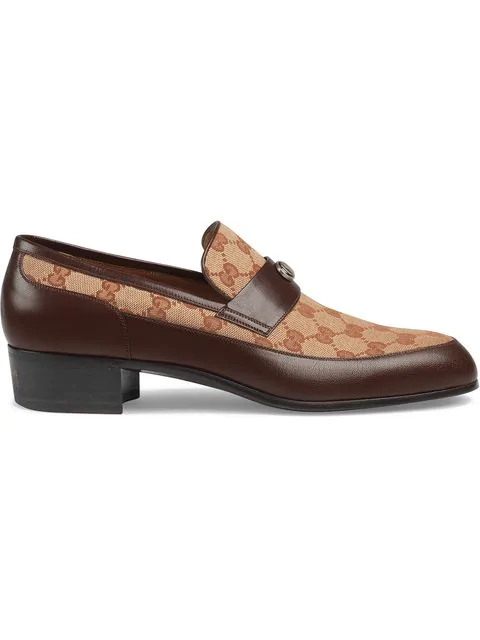 Gucci Printed Monogrammed Coated-Canvas And Leather Loafers In Brown