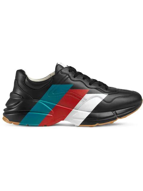 Gucci Rhyton Raised-Sole Striped Trainers In Black