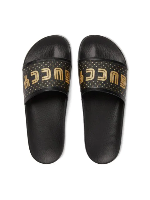 Gucci Pursuit Guccy Stars Rubber Slide Sandals In Black