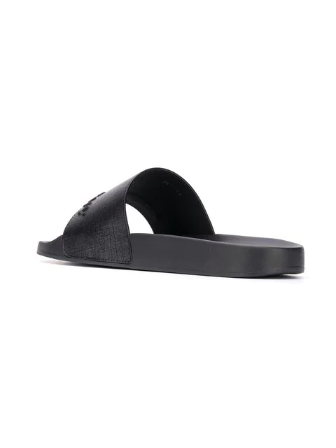 Givenchy Black Logo Leather Sliders