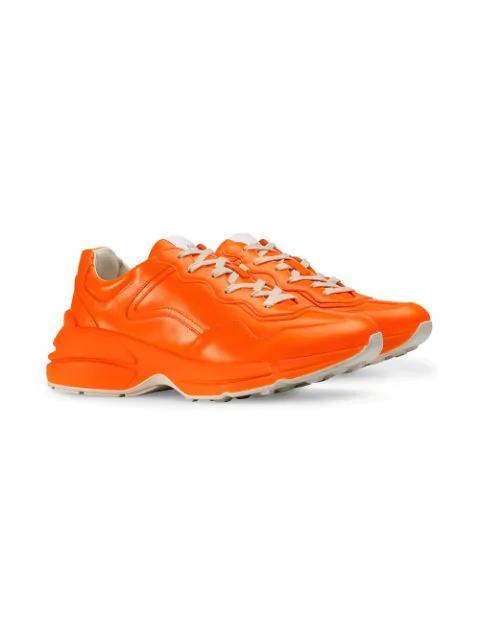 Gucci Rhyton Fluorescent Leather Sneaker In 7513 Arancione