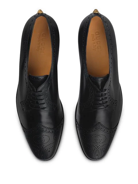 Gucci Leather Lace-Up With Brogue Detail In Black