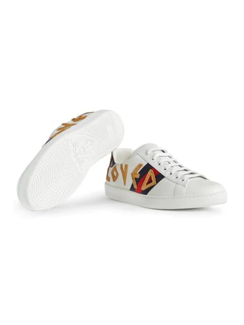 Gucci Mens New Ace Embroidered Leather Low-Top Trainers In White