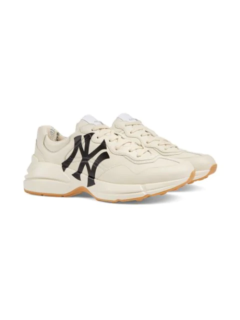 Gucci Men's Rhyton Sneaker With Ny Yankees™ Print In Neutrals