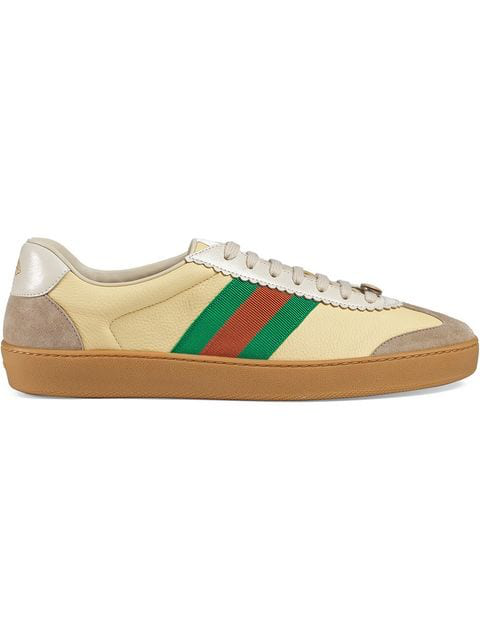 Gucci Jbg Webbing-Trimmed Leather And Suede Sneakers In Yellow