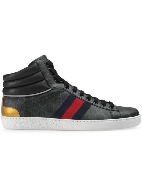 Gucci Men's Ace Gg Canvas High-Top Sneakers In Black
