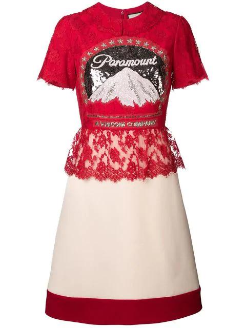 Paramount Logo Dress In 9780 Red White