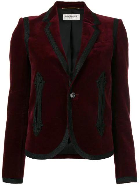 524f296d59d Saint Laurent Embroidered Jacket In Burgundy Velvet In Red   ModeSens