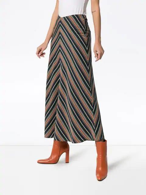 Beaufille Serra Chevron Stripe Skirt In Green