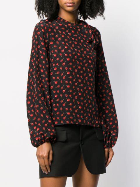 N°21 Nº21 Floral Long-Sleeve Blouse - Black