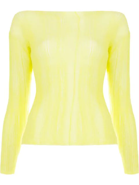 Aalto Sheer Long Sleeved Top In Yellow