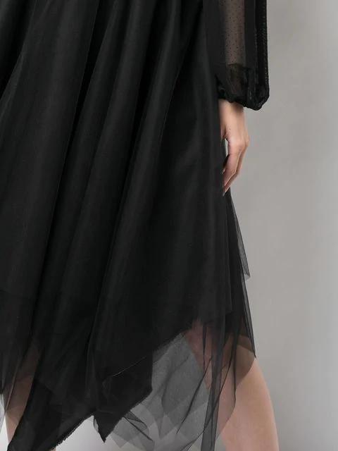 Marc Le Bihan Tulle Midi Skirt In Black