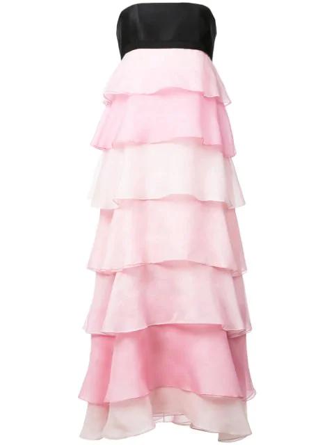 d1fade51f87a6 Carolina Herrera Tie-Back Tiered Ruffle Silk-Organza Midi Dress In Pink