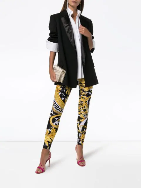 Versace Savage Baroque Stretch-Jersey High-Waist Pants In A7900 Black Yellow