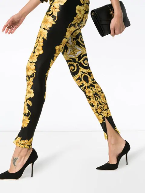Versace Hibiscus-Print High-Waist Leggings In Yellow