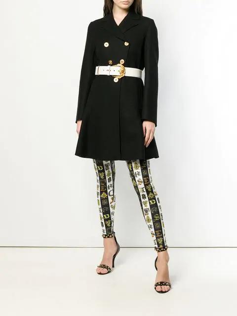 Versace Letter-Print Striped Stretch Leggings In Black