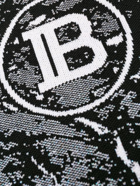 Balmain Jacquard Logo Knit Bodysuit In Eab Eab Noir