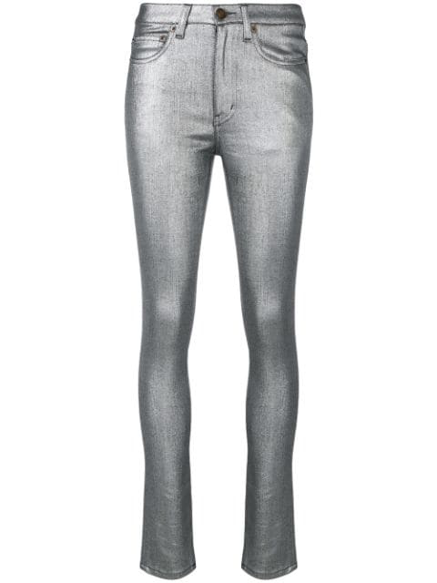 1e2a427a4a9 Saint Laurent High-Rise Metallic Skinny Jeans In 8028 Silver Lamina ...