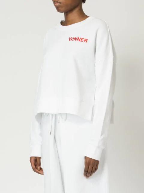 Aalto Winner Cropped Cotton Sweatshirt In White