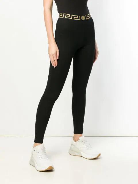 Versace Gold And Black Logo Waistband Leggings