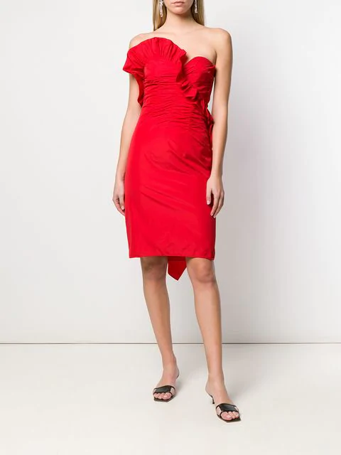 Alexa Chung Ruched Strapless Dress In Red