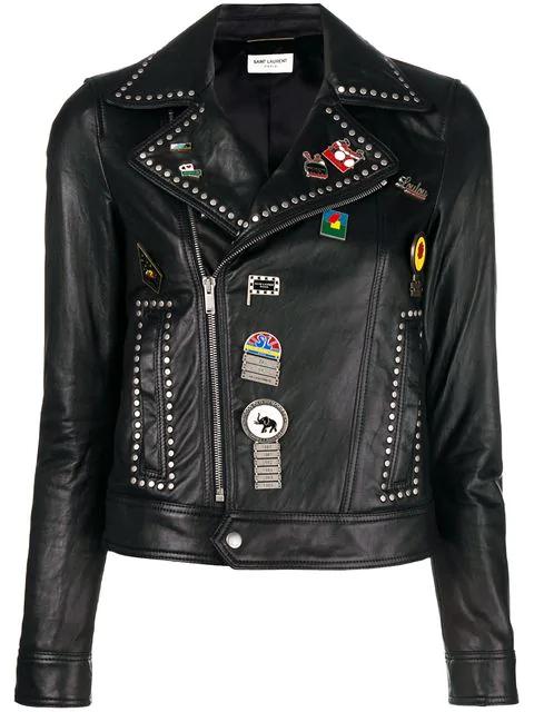 3fb6d84887d Saint Laurent Logo Pin Lambskin Leather Jacket In Black   ModeSens