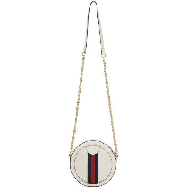 Gucci Ophidia Mini Round Leather Shoulder Bag In White