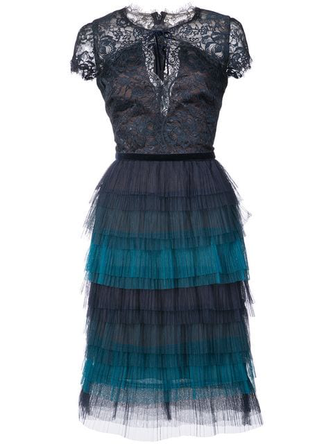 Tiered Lace Dress In Blue