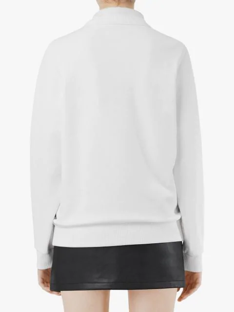 Burberry Logo Print Cotton Sweatshirt In A1464 White