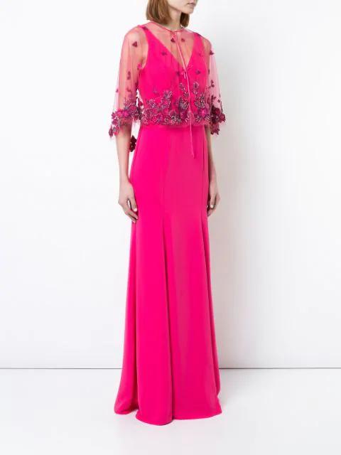 Fl Shawl Evening Dress In Pink