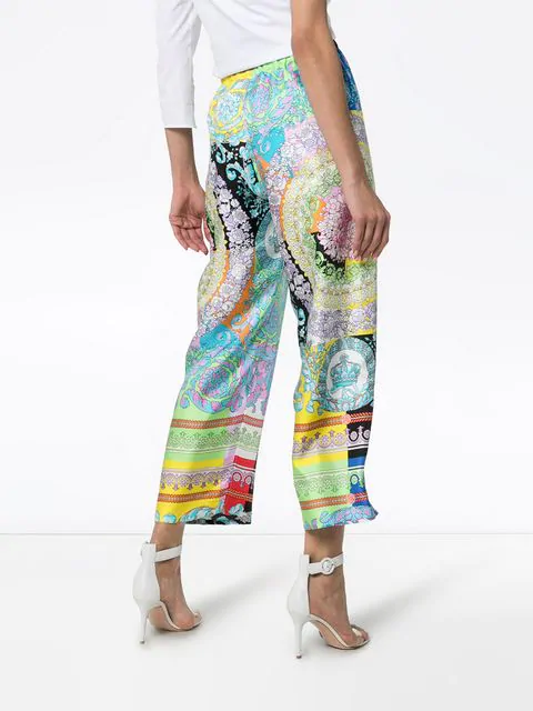 VERSACE MIXED FLORAL PRINT CROPPED TROUSERS