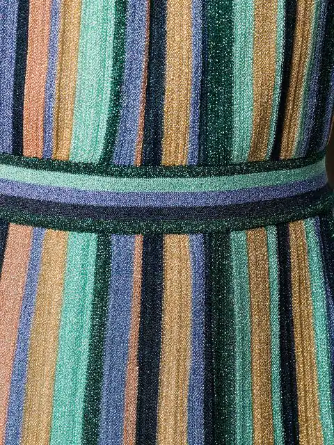 8af7af9a1c25a M Missoni Lurex Knit Midi Dress With Multicoloured Stripes Motif In Blue