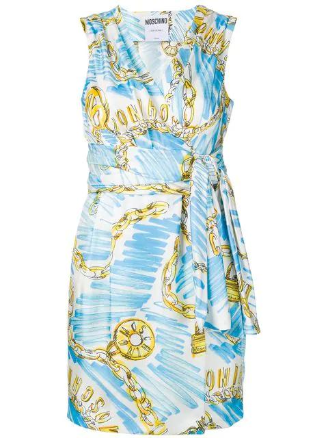 Blue Mit Logo Kleid Print Blau in Moschino cuKF3lTJ1