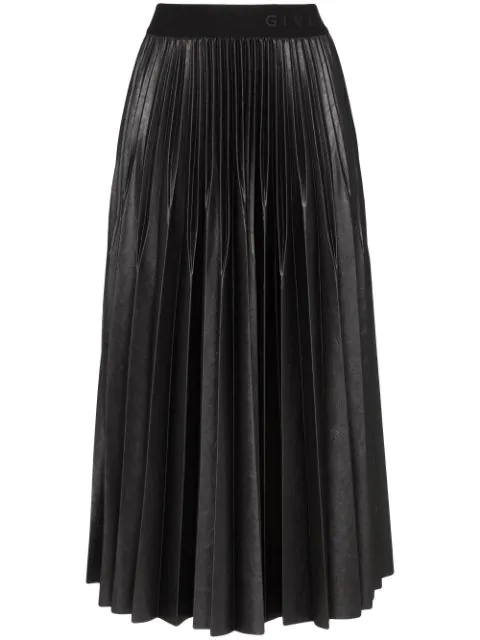 Givenchy Varnished Jersey Pleated Midi Skirt In 001 Black