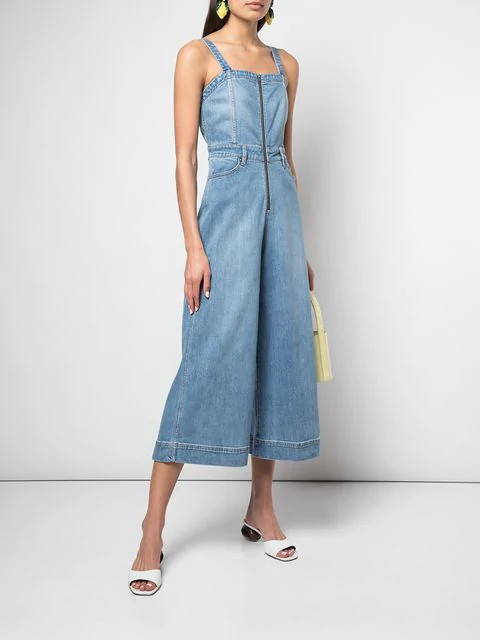 Alice And Olivia Alice + Olivia Gorgeous Cropped Wide-Leg Denim Jumpsuit In Blue