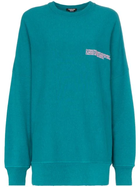 20dc8221642 Calvin Klein 205W39Nyc Logo Embroidered Oversized Cotton Jumper - Green