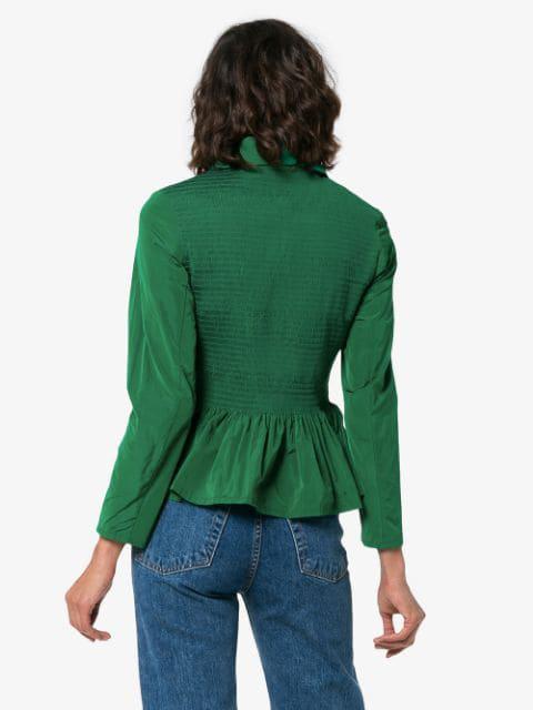09db10c78c1 Molly Goddard Lillian Shirred Taffeta Peplum Jacket In Green | ModeSens