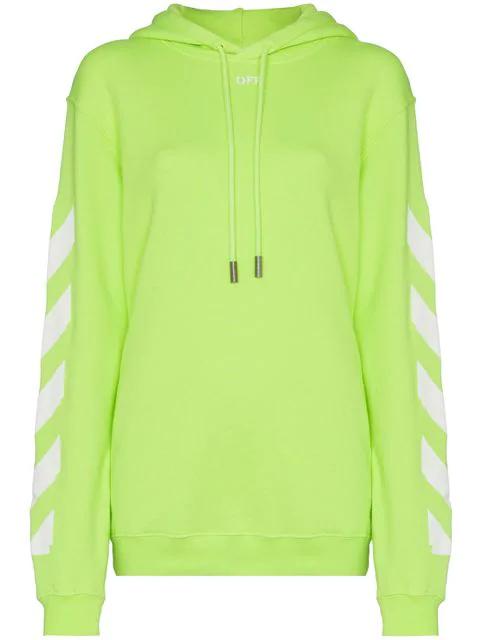 68acaa7e Off-White Green Diagonal Stripe-Print Cotton Hoodie In Yellow | ModeSens