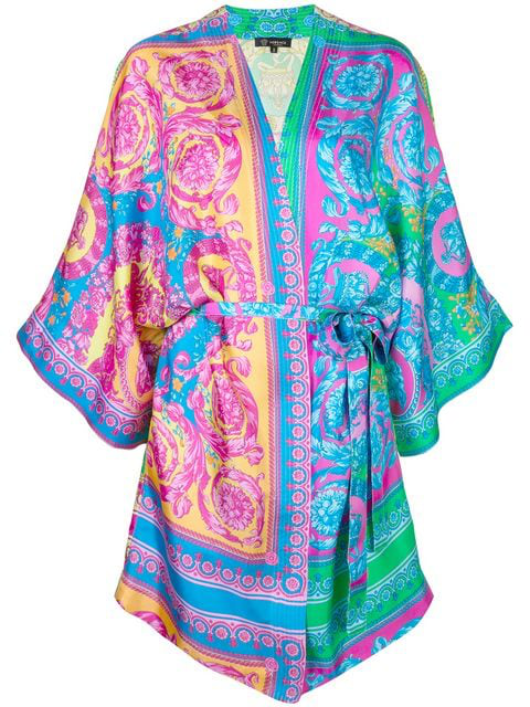 fashionable patterns real quality best price Printed Silk Satin Night Gown in Multicolour